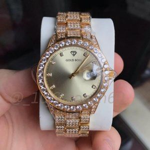 NEW IN BOX Buss Down Iced Out Gold Watch